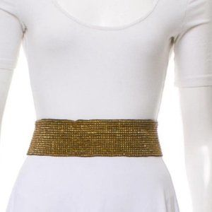 Cocobelle Beaded Amber Elastic Belt Bronze Stretch